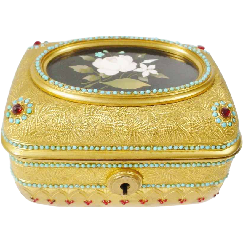 "Antique Jeweled Bronze Pietra Dura Casket Hinged Box ""MAGNIFICENT"""