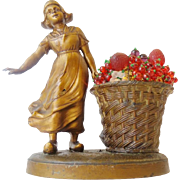 1920 Czech Glass Fruit Lamp LITTLE DUTCH GIRL w BASKET OF GLASS FRUIT,BERRIES & LEAVES""