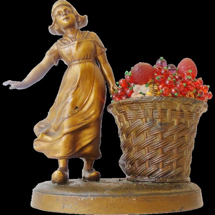 1920 Czech Glass Fruit Lamp LITTLE DUTCH GIRL w BASKET OF GLASS FRUIT ...