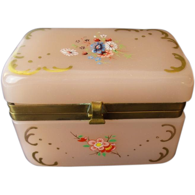 Antique Pink Opaline Casket Hinged Box