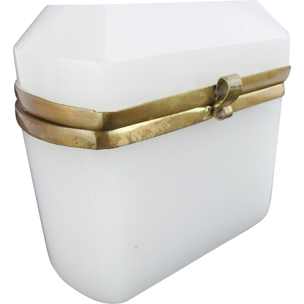 "Antique Bohemian Dome Top Hinged Box ""WHITE OPALINE"""
