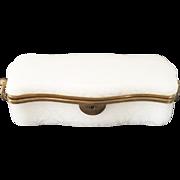"11 ½"" Antique White Opaline Glove Box w Double Handles"