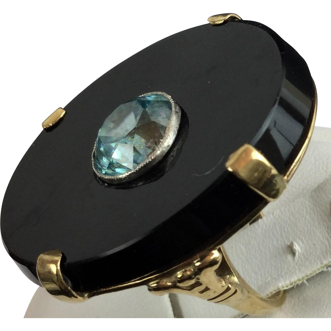 "Black Onyx and Blue Zircon 14kARAT Ring ""BEAUTIFUL"""