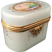 "RARE 19C Moser Oval Seafoam Opaline Casket Hinged Box ""BIRDS,NEST,EGGS,FOLIAGE & SWAGS"""