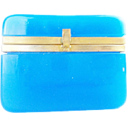 LAYAWAY Antique Blue Opaline Casket Hinged Box