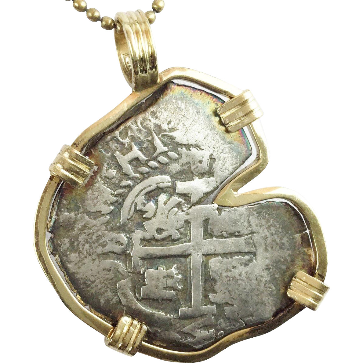 "Antique Atocha Spanish Reale Silver Coin Pendant ""14KARAT YELLOW GOLD BEZEL"""