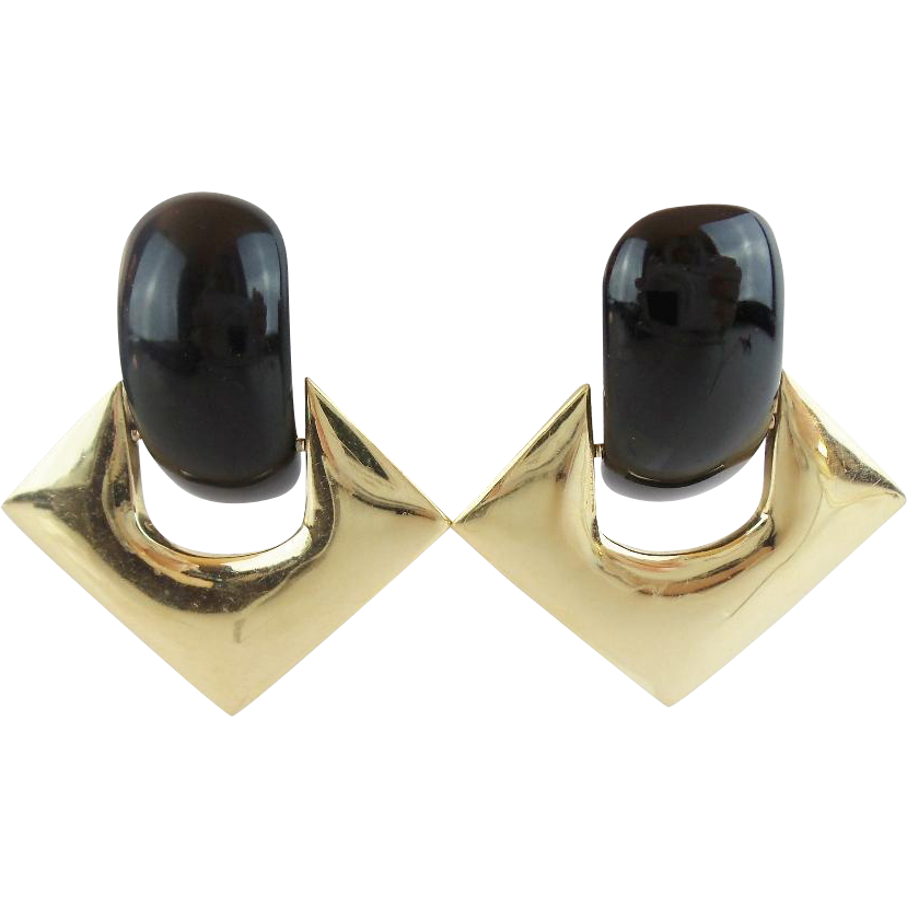 "Black Onyx 14KARAT Earrings  ""QUALITY & COMFORT BACKS"""