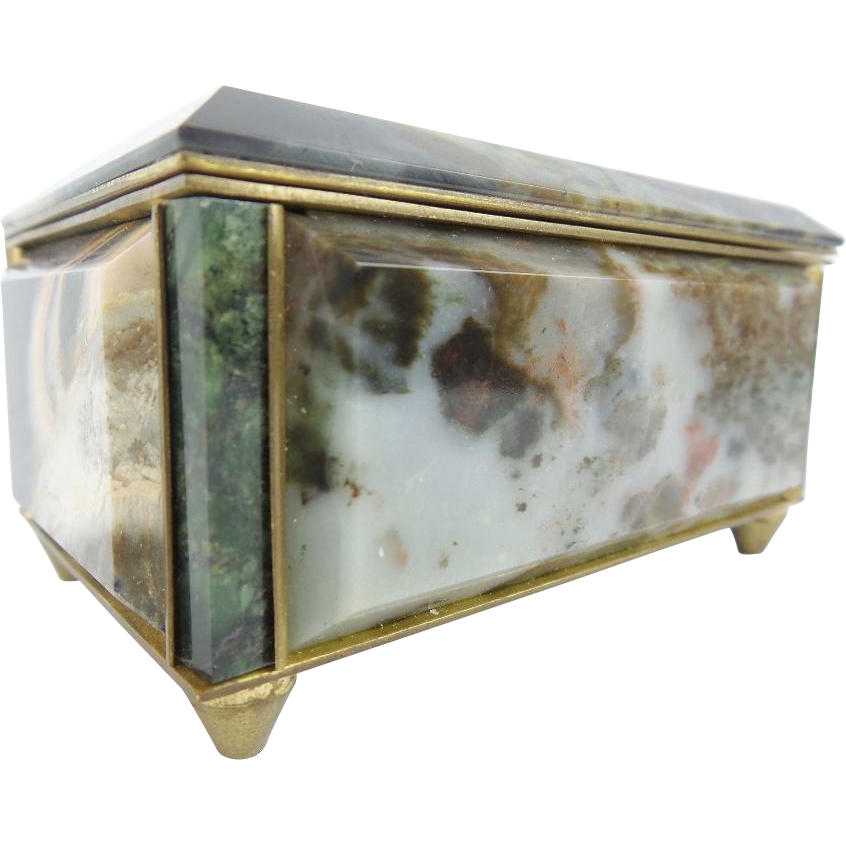 Antique Marble and Bronze Hinged Box
