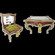 "15"" Antique Miniature Bronze & Casein Shell Vanity Vitrine ""GRANDEST BRONZE"""