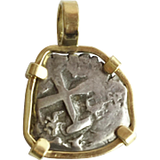 """ATOCHA"" 2 Reales  Silver Coin  "" 18K   Frame"""