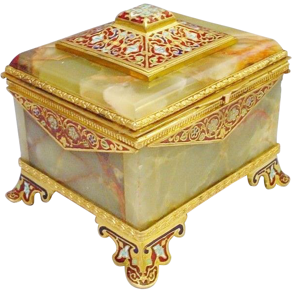 "Antique French Champleve Green Onyx Hinged Box"" GLORIOUS RED VEINING """