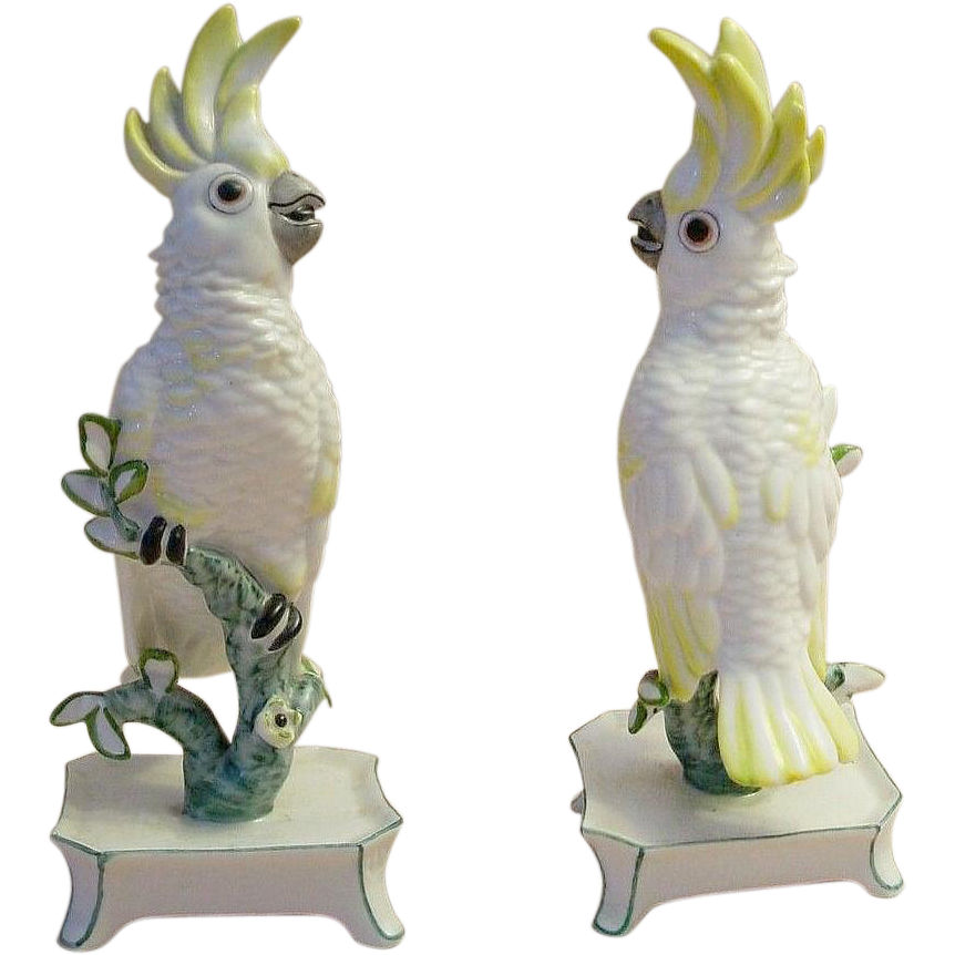 "7"" Nymphenburg Porcelain ""Yellow"" Cockatoo "" RARE COLOR & SIGNED"""