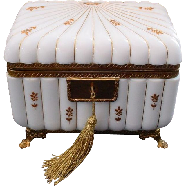 "BIG Antique French White Opaline Casket Hinged Box  ""Footed Base"""