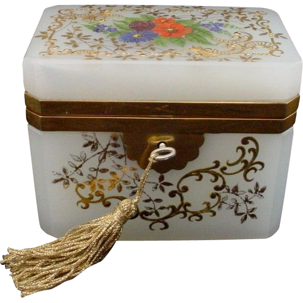 "Antique French White Opaline Casket Hinged Box ""Awesome Flowers"""