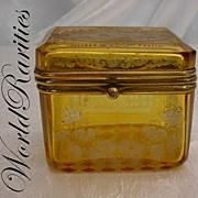 "Awesome Amber Spa Hinged Box  ""Rare Small Size"""