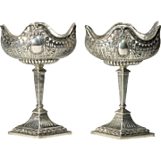 """Grandest Pair Hanau Silver Compotes  """" 800 Silver Compotes with Glass Liners"""""""
