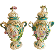 "Antique English Hand Painted Porcelain Double Handle Reticulated Covered Urns ""PAIR"""