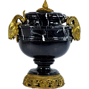 "Estate French Bronze and Marble Urn with Exquisite Ram Heads ""AWESOME"""