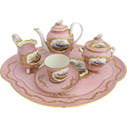 Antique French Porcelain Tea Set…Yummy Pink with Pheasants & Six Stunning Pieces