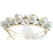 Estate 14K Pearl &  Diamond Bangle Bracelet 'BEAUTIFUL""