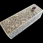 "Antique 800 Silver Italian Jeweled Mirrored Lipstick Case.' PURPLE GEM"""