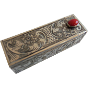 Antique 800 Silver Italian Jeweled Mirrored Lipstick Case. Lovely RED Gem.