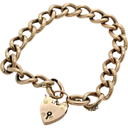 Antique English 9ct Rose Gold Bracelet with Heart Shaped Lock Clasp.
