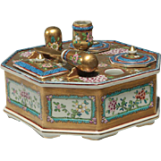 "Magnificent Antique French Dresden Porcelain Inkwell Desk Set ""Twin Inkwells. Wax Sealer, Letter Opener & Double Stamp Box"""