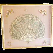 Charming Silk  & Beaded Fan Framed in a Stunning Gilt Frame