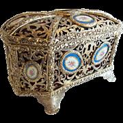 "19c French Bronze Casket Hinged Box ""15 Porcelain Plaques"""