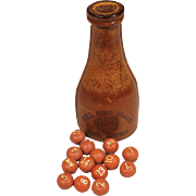 "Rare Bull Dog Brand Shake ""Leather"" Bottle & Balls for Pocket Billiards. "" Brunswick Balke Collender Co. MfG"""