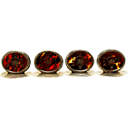 """SET of FOUR  19c English Silver &  Faux Tortoise (Casein) Table Top Oval Place Card Holder  """"All Marked W.C """""""