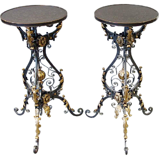 Glorious Pair of Iron &  Brass Pedestal Table