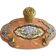 The Grandest Champlevé and Red Jasper Oval Inkwell Stand