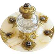 """Magnificent  9"""" Antique Brass & Agate Inkwell  """"AWESOME AGATE"""""""