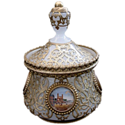 """Magnificent Grand Tour White Opaline Covered Box """"Four Eglomise"""""""