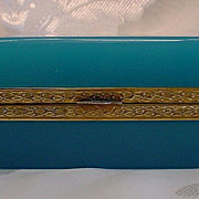 Antique French Turquoise Opaline Hinged Box