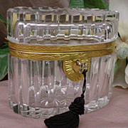 "Stunning Antique French Cut Crystal Casket ""OVAL"""