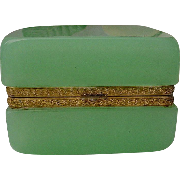 "Antique French Green Opaline Hinged Casket Box  ""Fancy Mounts"""