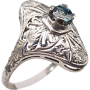 "Sapphire 18KARAT  White Gold  Filigree Ring  ""BEAUTIFUL"""