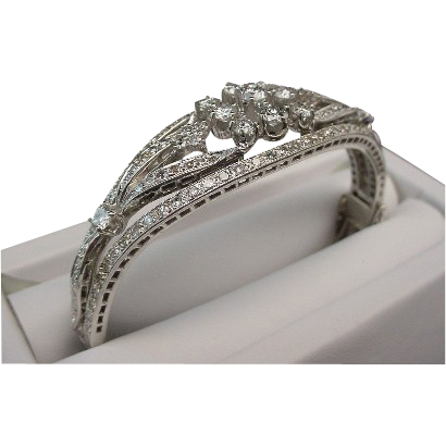 LAYAWAY Magnificent 14K Diamond Filigree Bangle Bracelet