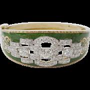 """Antique Green Enamel &  Diamond Bracelet """"MAGNIFICENT"""""""