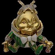 LAYAWAY. 18Karat Humpty Dumpty Jeweled Enamel  Pendant