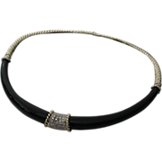 Black Onyx and Diamond Choker Necklace 14KARAT