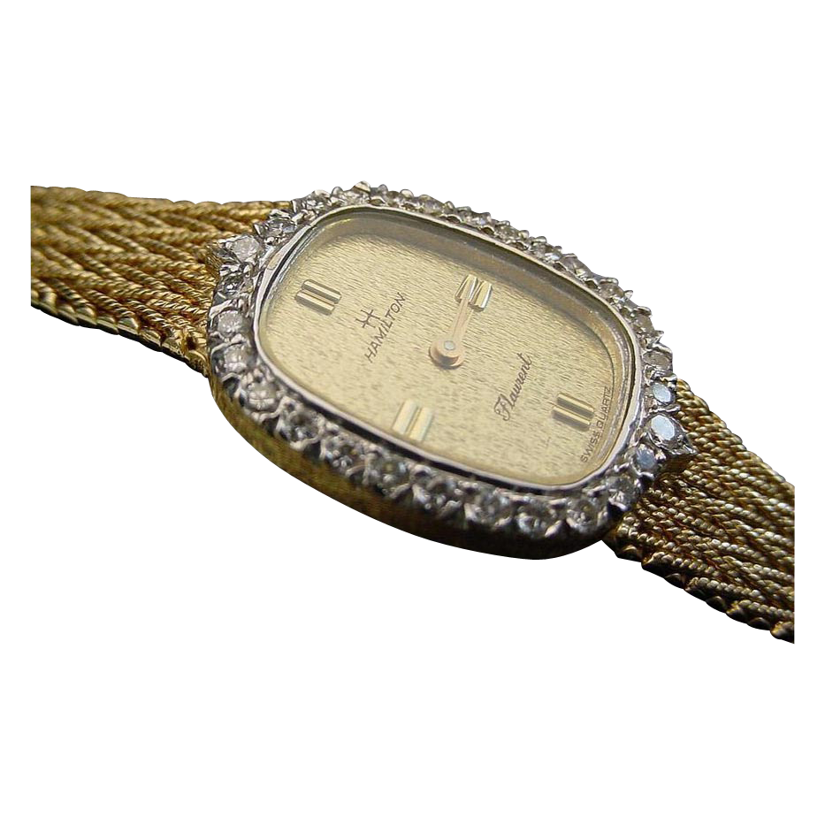Elegant Diamond 14 Karat Hamilton Watch