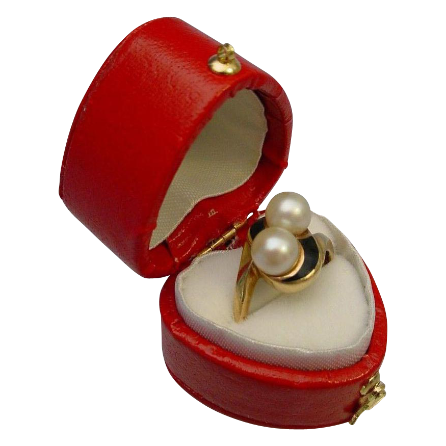 Pretty 10 Karat Pearl and Enamel Ring