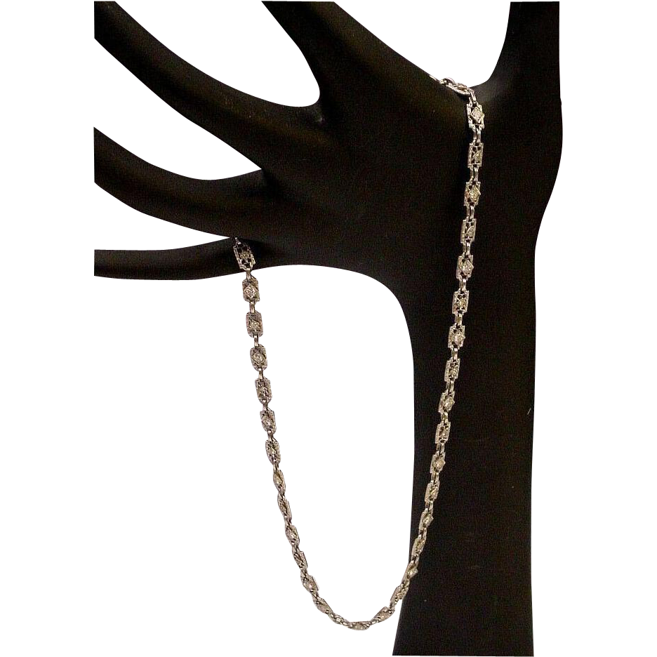 "LAYAWAY  14Karat White Gold Diamond Filagree 15"" Necklace"