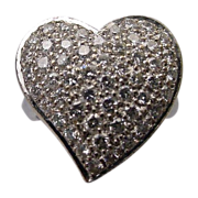 "LAYAWAY Estate 14Karat White Gold Large Pave Diamond Ring  ""HEART SHAPE"""