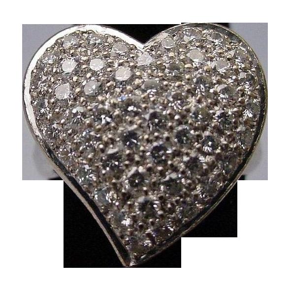"""LAYAWAY Estate 14Karat White Gold Large Pave Diamond Ring  """"HEART SHAPE"""""""