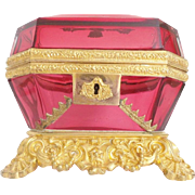 "Antique Baccarat Cranberry Bronze Casket Hinged Box. ""THE BEST"""